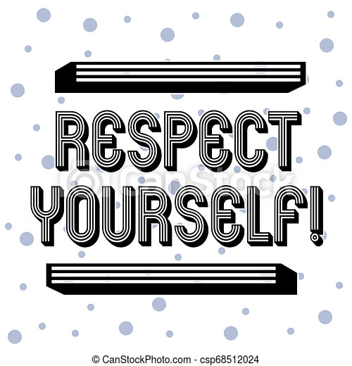 Handwriting text Respect Yourself. Concept meaning believing that you good and worthy being treated well Seamless Blue Polka Dots Tiny Circles Pattern in Random on White Isolated. - csp68512024