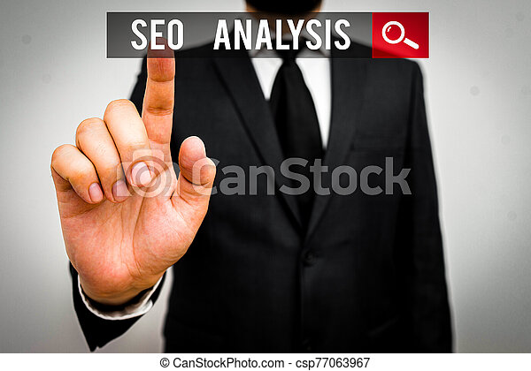 Handwriting text Seo Analysis. Concept meaning tool helps showing to study on how to improve a website ranking. - csp77063967