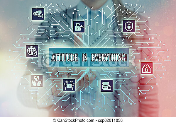 Handwriting text writing Attitude Is Everything. Concept meaning Personal Outlook Perspective Orientation Behavior. - csp82011858