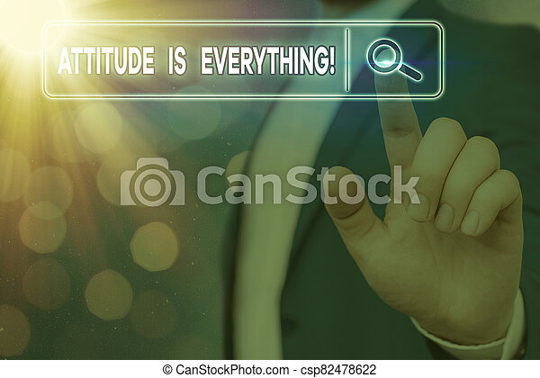 Handwriting text writing Attitude Is Everything. Concept meaning Personal Outlook Perspective Orientation Behavior. - csp82478622