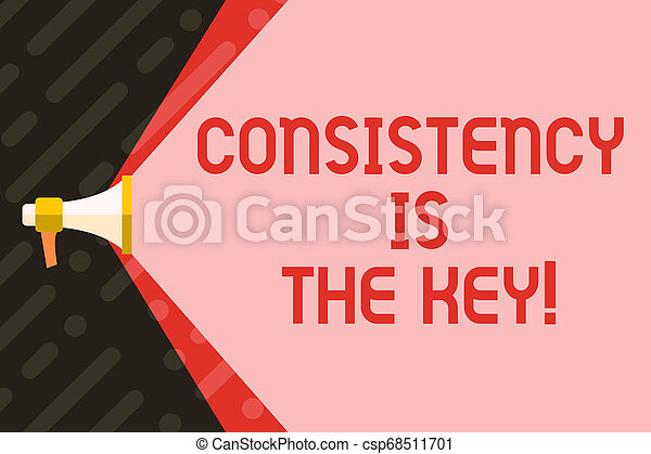 Handwriting text writing Consistency Is The Key. Concept meaning by Breaking Bad Habits and Forming Good Ones Megaphone Extending the Capacity of Volume Range thru Blank Space Wide Beam. - csp68511701