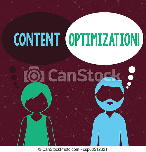 Handwriting text writing Content Optimization. Concept meaning techniques to improve search results and ranking Bearded Man and Woman Faceless Profile with Blank Colorful Thought Bubble. - csp68512321