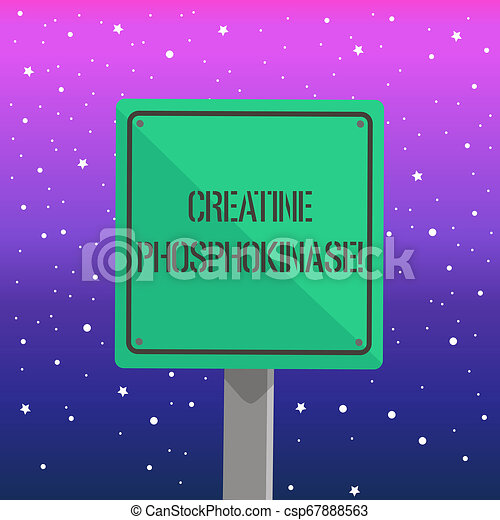 Handwriting text writing Creatine Phosphokinase. Concept meaning protein that aids chemical changes in the body 3D Square Blank Colorful Caution Road Sign with Black Border Mounted on Wood. - csp67888563