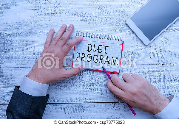 Handwriting text writing Diet Program. Concept meaning practice of eating food in a regulated and supervised fashion. - csp73775023