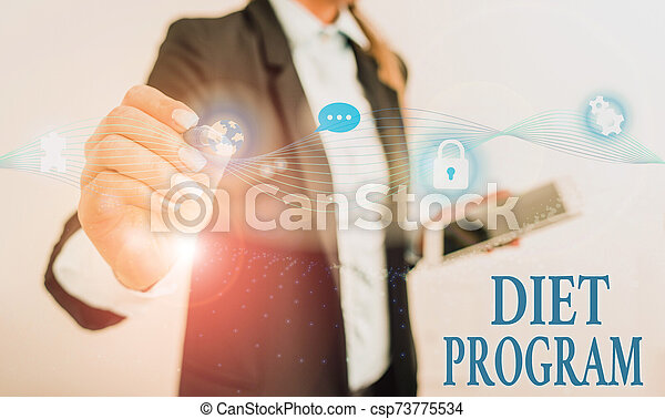 Handwriting text writing Diet Program. Concept meaning practice of eating food in a regulated and supervised fashion Female human wear formal work suit presenting presentation use smart device. - csp73775534