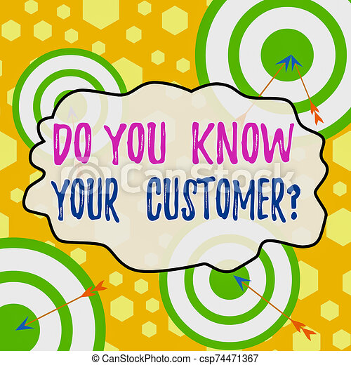 Handwriting text writing Do You Know Your Customer Question. Concept meaning service identify clients with relevant information Arrow and round target inside asymmetrical shaped object multicolour design. - csp74471367