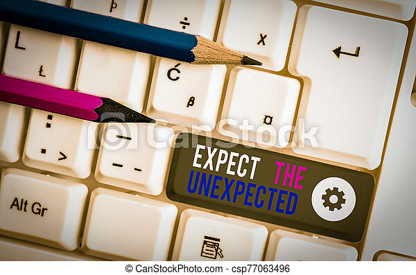 Handwriting text writing Expect The Unexpected. Concept meaning Anything can Happen Consider all Possible Events White pc keyboard with empty note paper above white background key copy space. - csp77063496
