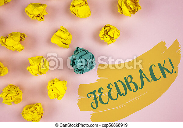 Handwriting text writing Feedback Motivational Call. Concept meaning Rating an economical local grocery store written on Painted background Crumpled Paper Balls next to it. - csp56868919