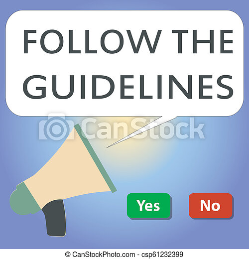 Handwriting text writing Follow The Guidelines. Concept meaning Manual of Style Follow a Specified Rule Accordingly - csp61232399