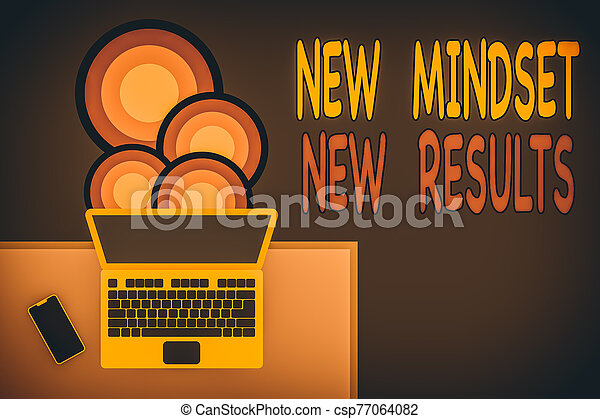 Handwriting text writing New Mindset New Results. Concept meaning obstacles are opportunities to reach achievement Upper view office working place laptop lying wooden desk smartphone side. - csp77064082