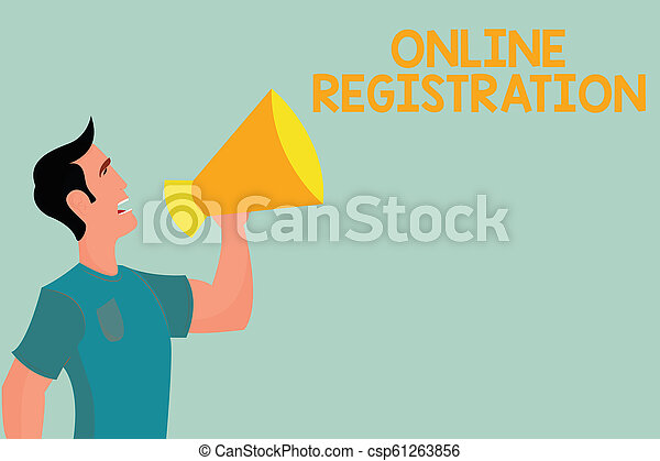 Handwriting text writing Online Registration. Concept meaning Process to Subscribe to Join an event club via Internet - csp61263856