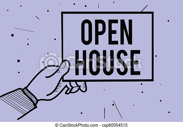 Handwriting text writing open house concept meaning you can come concept meaning you can come whatever whenever want make yourself at home man hand holding paper communicating information dotted purple background solutioingenieria Images
