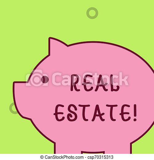Handwriting text writing Real Estate. Concept meaning owning property consisting of empty land or buildings Fat huge pink pig plump like piggy bank with sharp ear and small round eye. - csp70315313