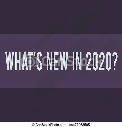 Handwriting text writing What S New In 2020 Question. Concept meaning Expectation and Surprises for the coming Year Oblong Geometric Shape Angle Pattern in Different Sizes in Violet Monochrome. - csp77063595