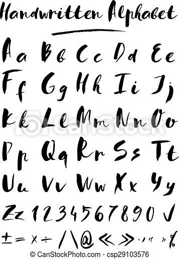 Handwritten alphabet. Set of hand drawn vector letters in black color.