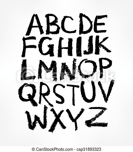 Handwritten Alphabet Ink Hand Lettering Modern Brush Drawn Uppercase Letters