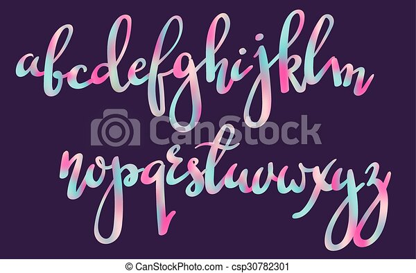 Handwritten Brush Pen Colorful Font Stylish Letters Hand Made With Modern Calligraphy Alphabet Isolated Colored Mesh Tool For