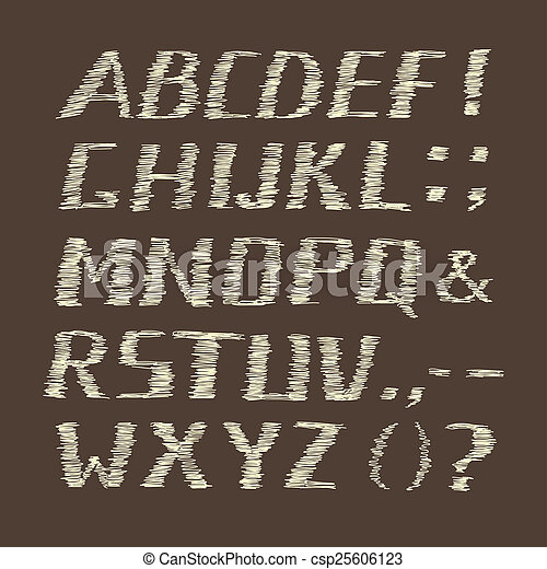 Handwritten Chalk Alphabet on Brown Background - csp25606123