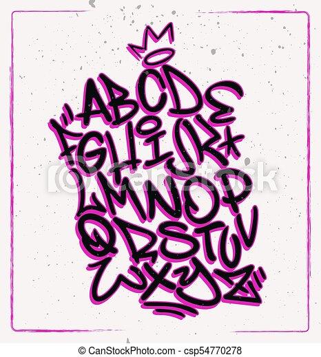 Handwritten graffiti font alphabet  Artistic hip hop typography collection   Custom vector calligraphy set