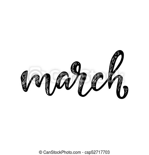 Handwritten names of months: March  Calligraphy words for calendars and  organizers