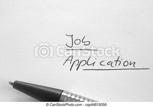 Handwritten Phrase Job Application On White Paper