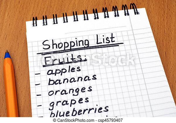 handwritten shopping list of fruits with pen csp45793407