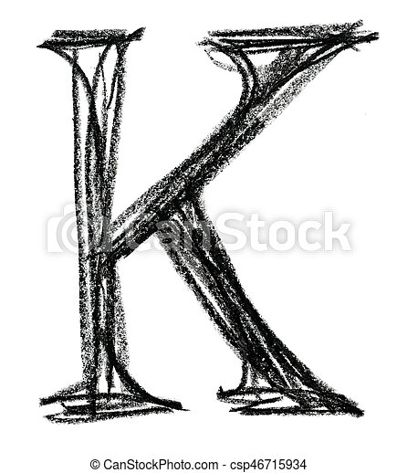 Handwritten Sketch Black Letter K On White Background
