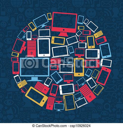 Computer, Handy- und Tablet-Kreis - csp10926024