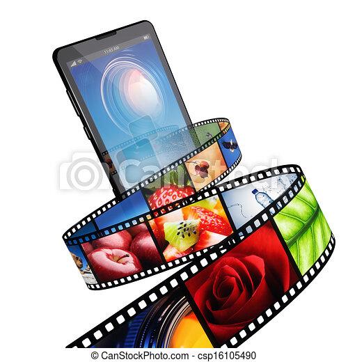 handy, modern, video, strömt - csp16105490