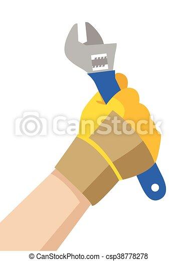 handyman, レンチ, 手を持つ - csp38778278