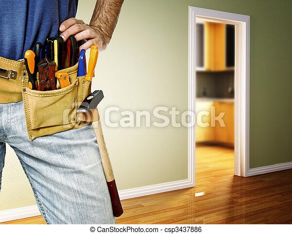 handyman, 細部, toolbelt - csp3437886