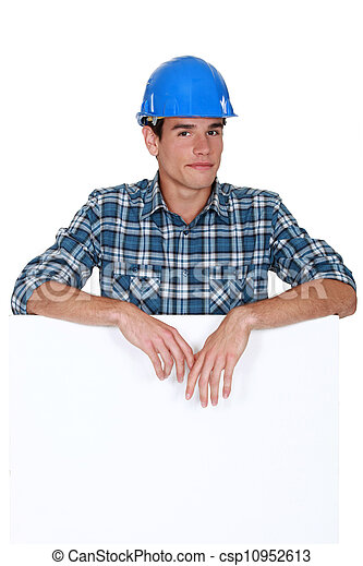 Handyman behind white panel - csp10952613