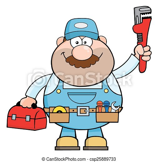 handyman cartoon character with wrench and tool box vectors search rh canstockphoto com handyman clip art free download handyman clip art black and white