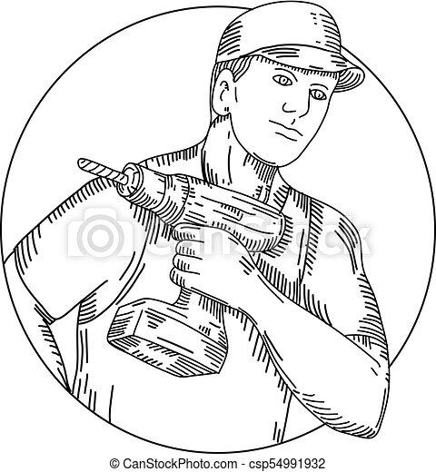 handyman-cordless-drill-CIRC-MLINE - csp54991932