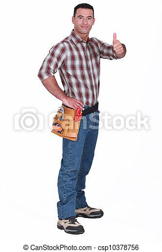 Handyman giving the thumb's up - csp10378756