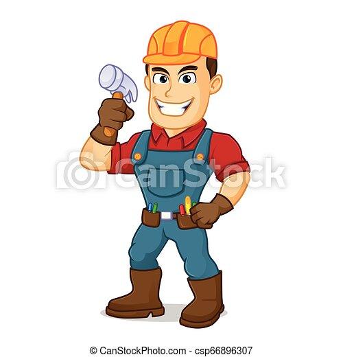 Handyman holding hammer - csp66896307