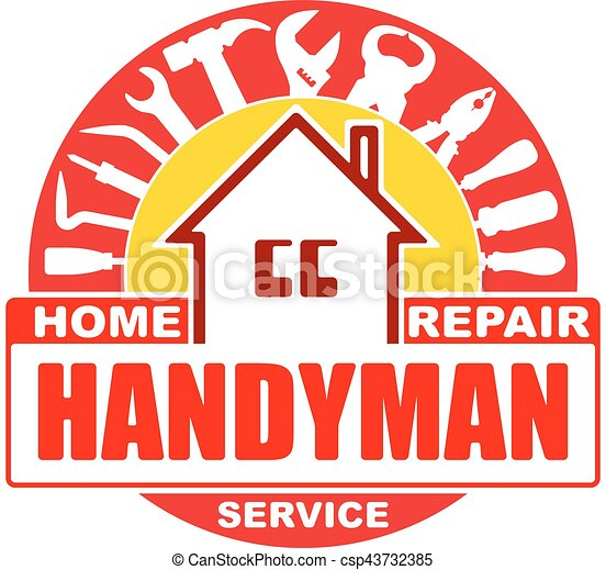 Handyman home repair services. Round vector design for your logo or emblem with home and set of workers tools. There are wrench, screwdriver, hammer, pliers, scrap. Red and yellow gamma. - csp43732385