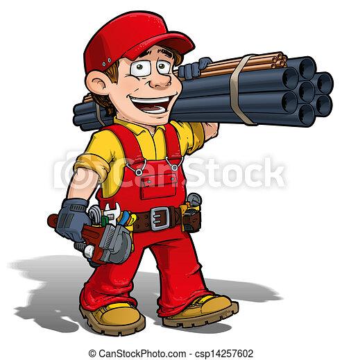 handyman plumber red cartoon illustration of a handyman plumber