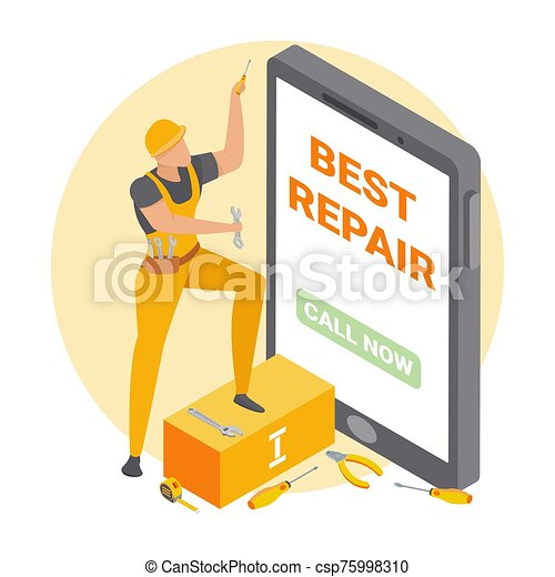 Handyman Repair Isometric Composition - csp75998310