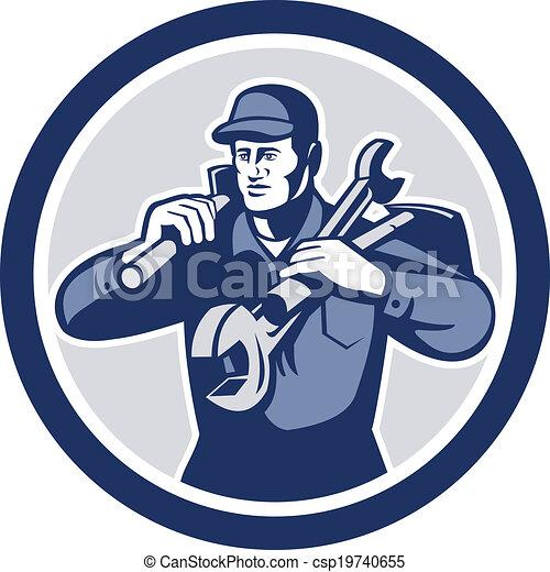 Handyman Repairman Spanner Wrench Spade Retro - csp19740655