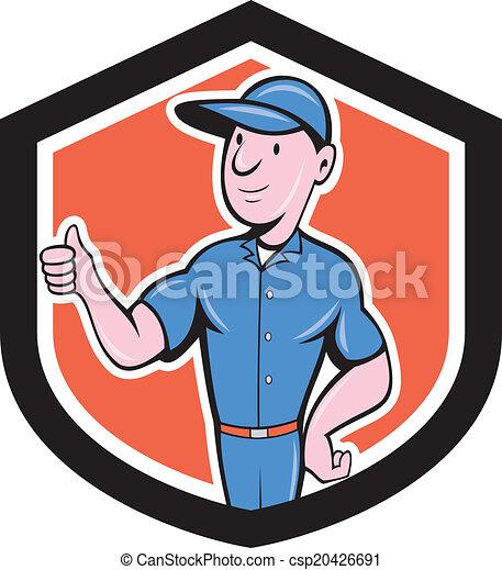Handyman Repairman Thumbs Up Cartoon - csp20426691