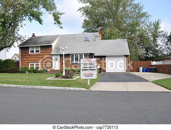 Handyman Sign Suburban Home - csp7730113