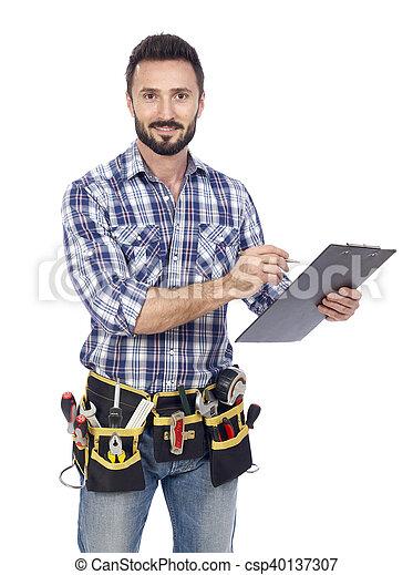 Handyman taking notice - csp40137307