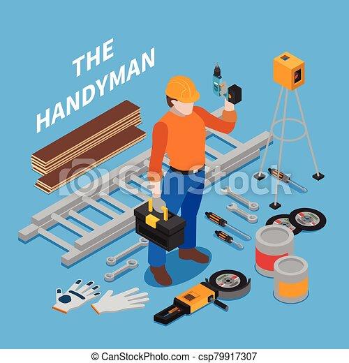 Handyman Tools Isometric Composition - csp79917307