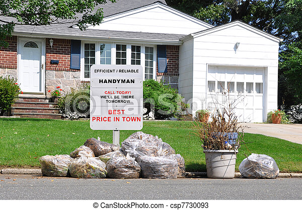 Handyman Trash Suburban Home - csp7730093
