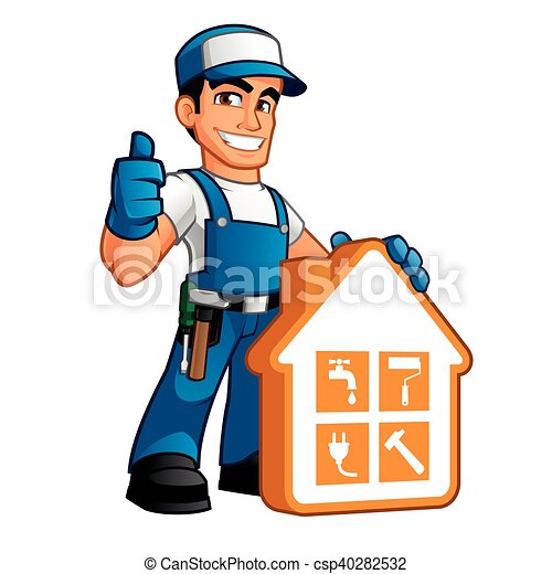 Handyman wearing work clothes and a belt with tool - Clipart bricolage ...