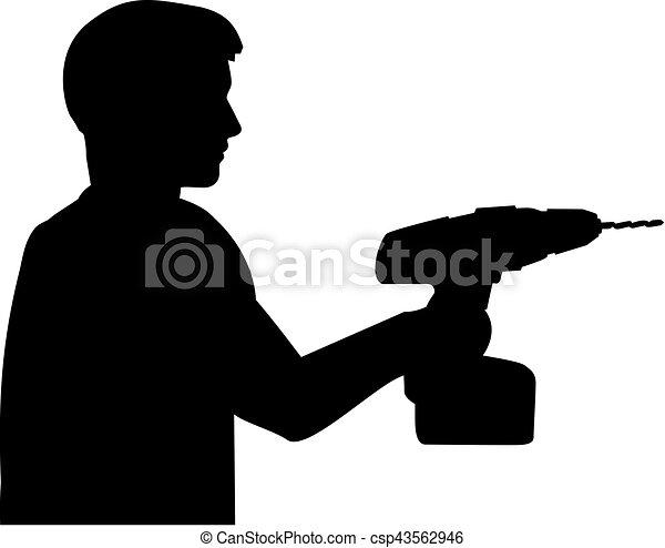 Handyman with screwdriver drill - csp43562946