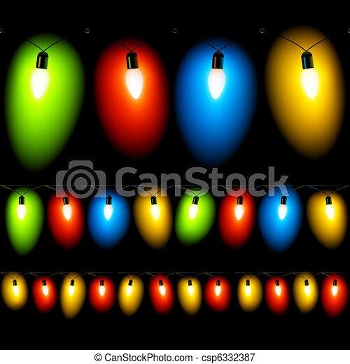 hanged christmas lights on black csp6332387