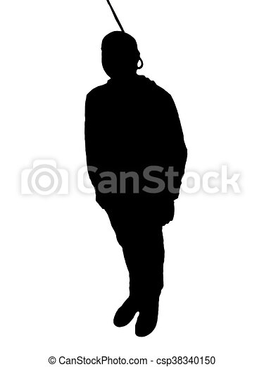 Hanged Man Silhouette Isolated Xxx Against White Background