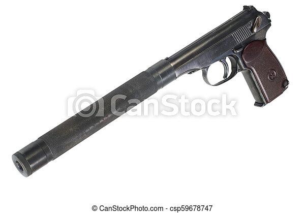 hangfogó, fehér, kézifegyver - csp59678747